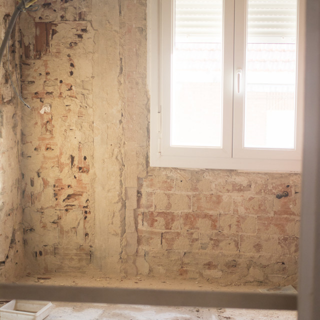 """""""Buidling renovation works in house"""" stock image"""