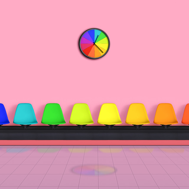 """""""Waiting room rainbow-colored. Empty chairs multicolored."""" stock image"""