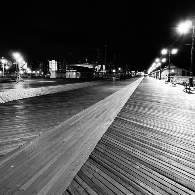 """Empty Coney Island Boardwalk, NY, 2020"" stock image"