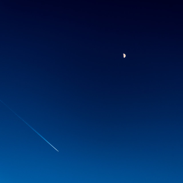 """""""Plane and Moon"""" stock image"""