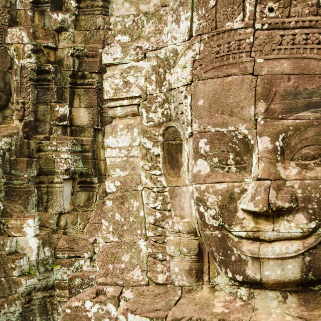 """The Smiling Buddhas of Bayon"" stock image"