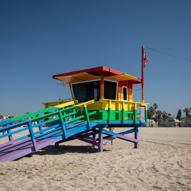 """The Venice Pride Lifeguard Tower"" stock image"