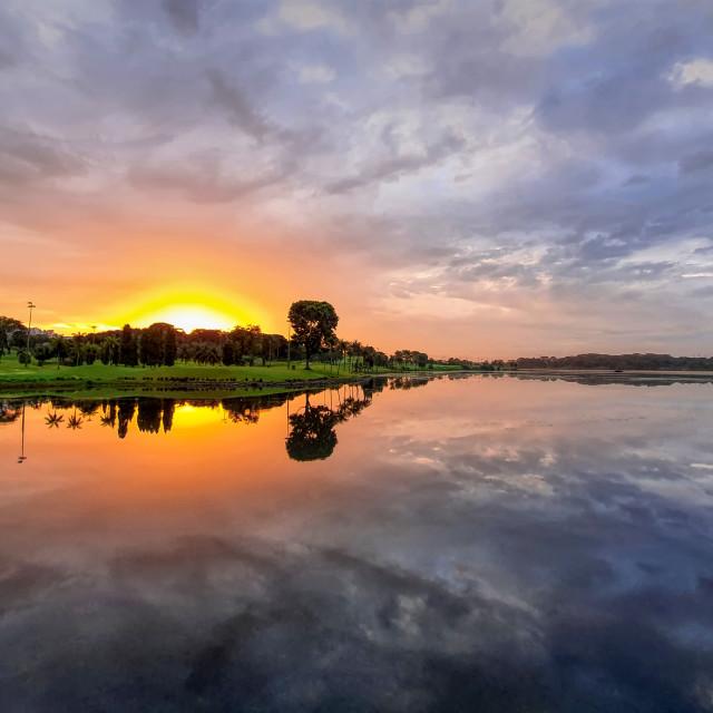 """""""Sunrise Reflections I"""" stock image"""