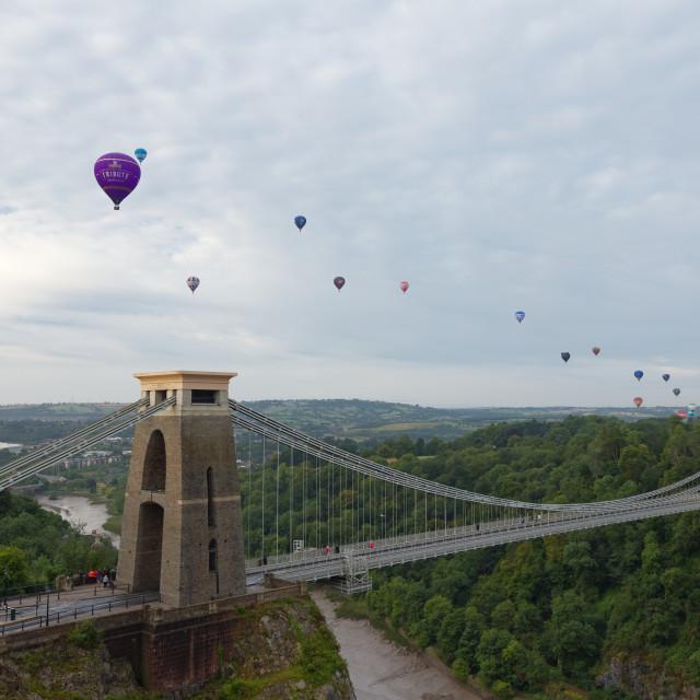 """Balloons over Clifton Suspension Bridge"" stock image"