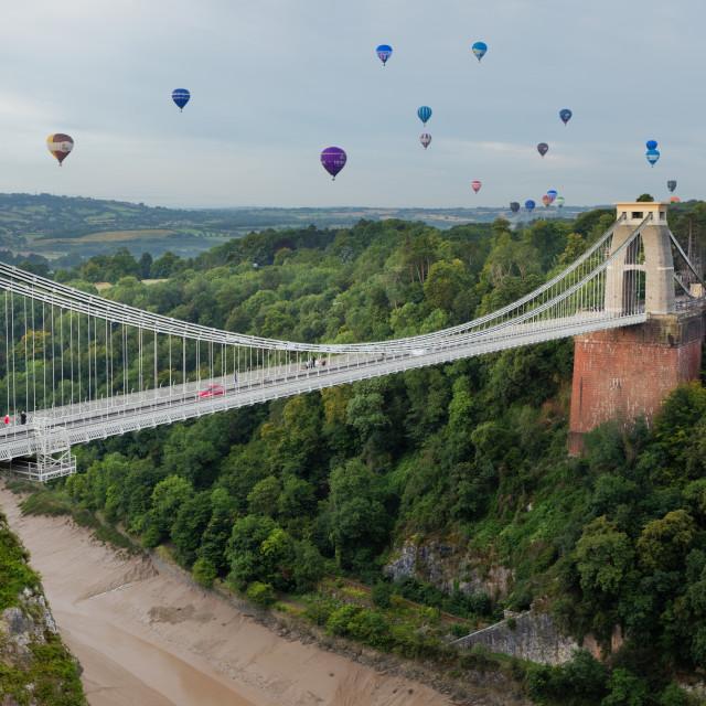 """Balloons over Avon Gorge"" stock image"