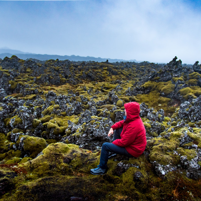 """""""Solo male traveler on scenic lava field views in Iceland"""" stock image"""