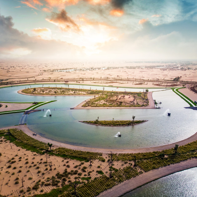 """Heart shape Love lakes in Dubai desert in the UAE aerial view"" stock image"