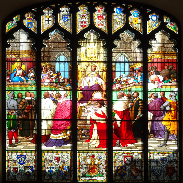 """Parliament Hall Great Window, Edinburgh"" stock image"