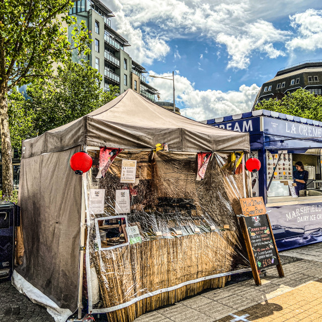 """Covid secure street food market"" stock image"