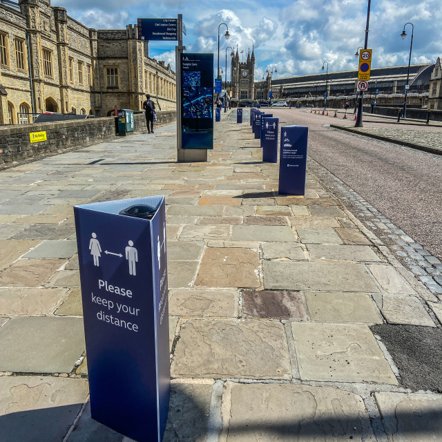 """""""Entrance to Temple Meads train Station in Bristol during the Cor"""" stock image"""