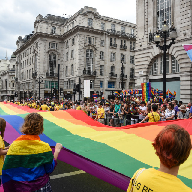 """People parading at the Pride Parade 2019 at London city, UK"" stock image"