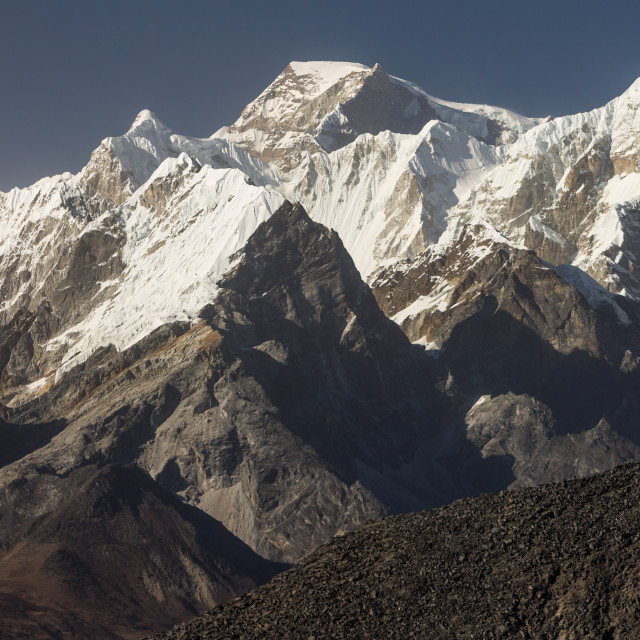 """Gyachung Kang & other peaks from viewpoint above Ama Dablam BC"" stock image"