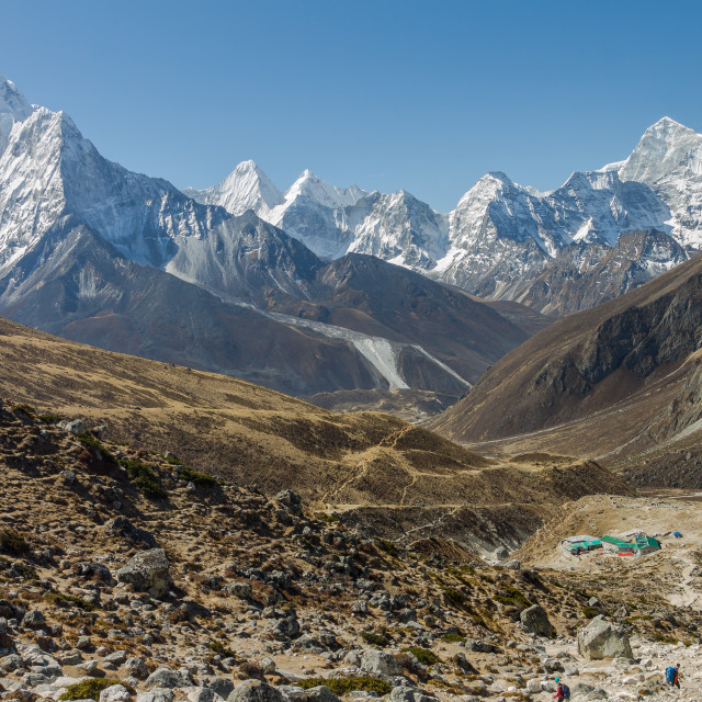 """Ama Dablam & other peaks - view from EBC trek"" stock image"