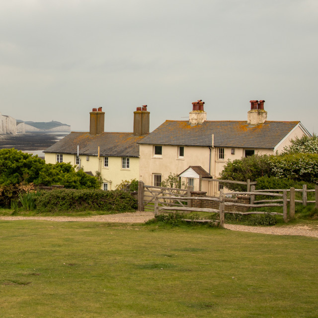 """Coastguard Cottages And Seven Sisters Cliffs, Cuckmere, East Sussex"" stock image"