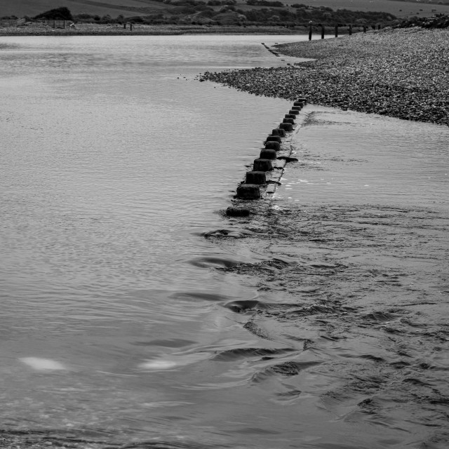 """River Cuckmere at low tide at Seven Sisters Country Park, East Sussex, England"" stock image"