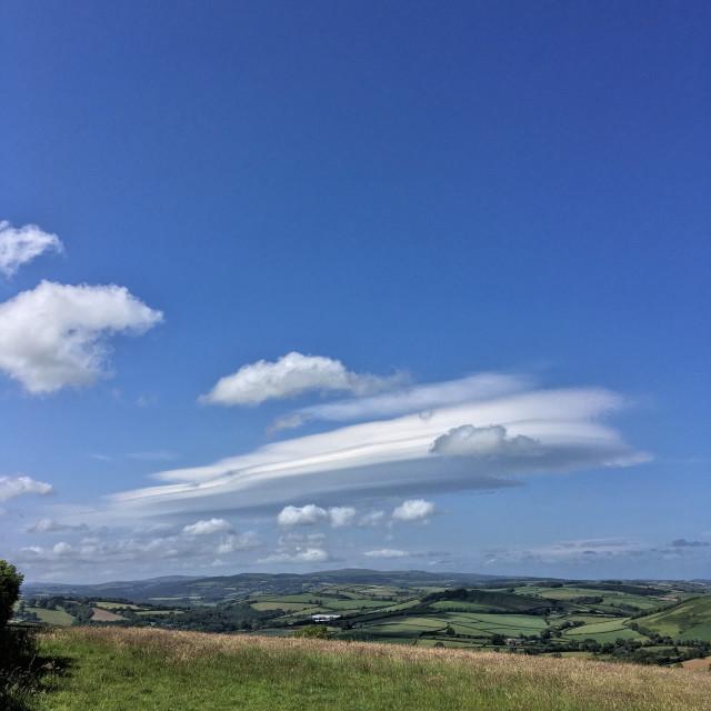 """""""Lenticular cloud over Dartmoor"""" stock image"""