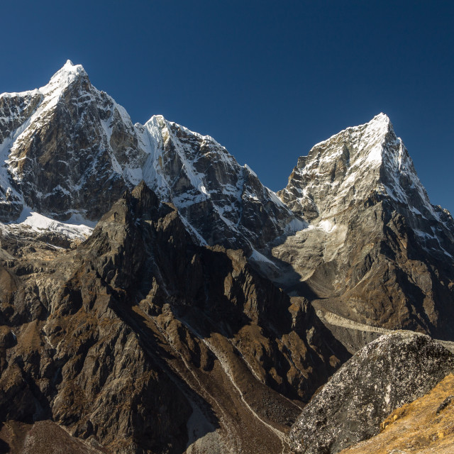 """Taboche and Cholatse seen from Nangkartshang"" stock image"