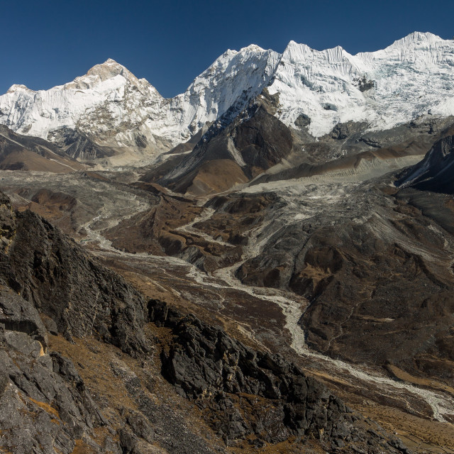 """Upper Imja Khola Valley seen from Nangkartshang"" stock image"