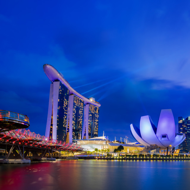 """Nightscape of Singapore Marina Bay Sand Singapore"" stock image"