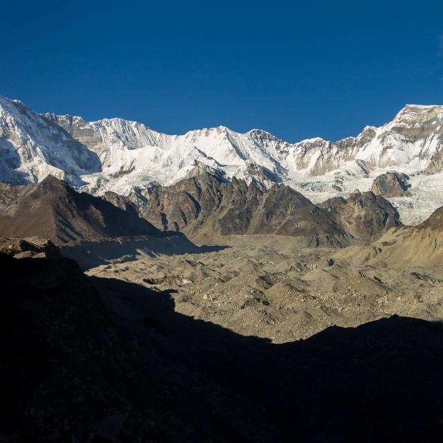 """""""Mountains of the main Himalayan ridge above Gokyo"""" stock image"""
