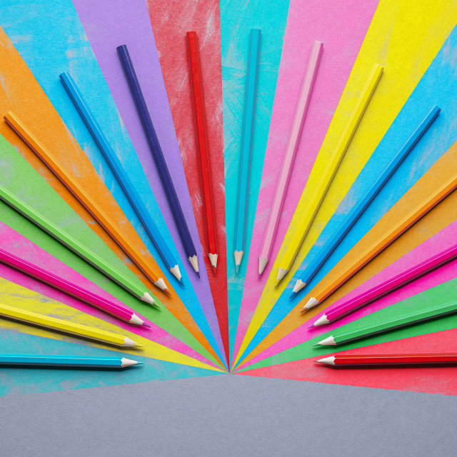 """""""Colored pencils arranged symmetrically. Back to school supplies"""" stock image"""