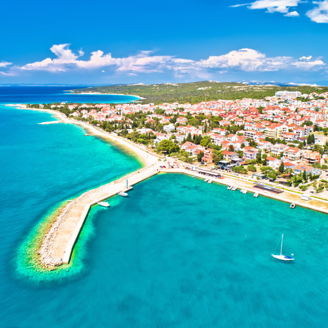 """""""Town of Novalja beach and waterfront on Pag island aerial view"""" stock image"""