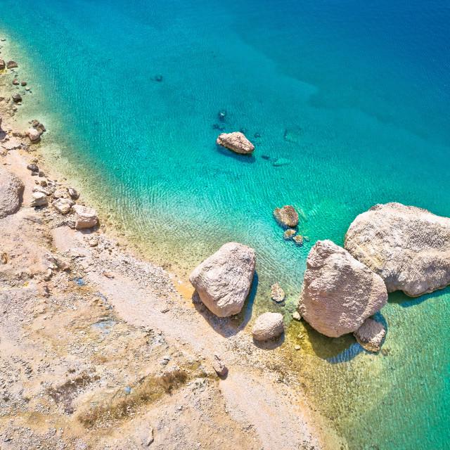 """Metajna, island of Pag. Famous Beritnica beach in stone desert amazing..."" stock image"