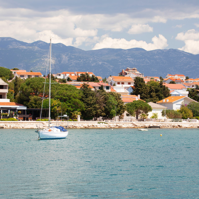 """""""Town of Novalja waterfront view, Pag island"""" stock image"""