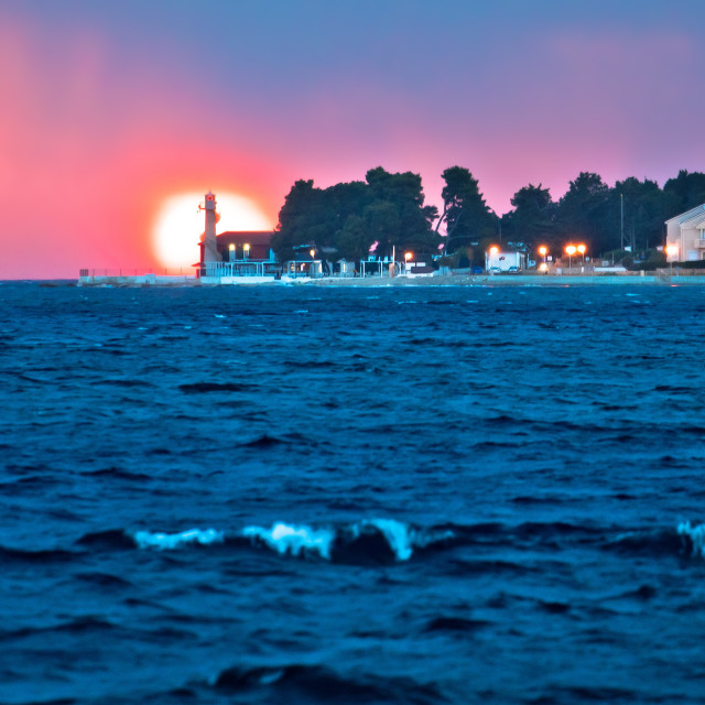 """Lighthouse Puntamika in Zadar epic sunset view"" stock image"
