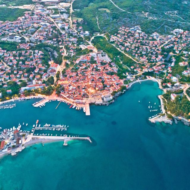 """Idyllic Adriatic island town of Krk aerial evening view"" stock image"