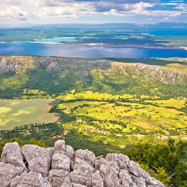 """Vinodol valley and lake Tribalj view from Mahavica viewpoint"" stock image"