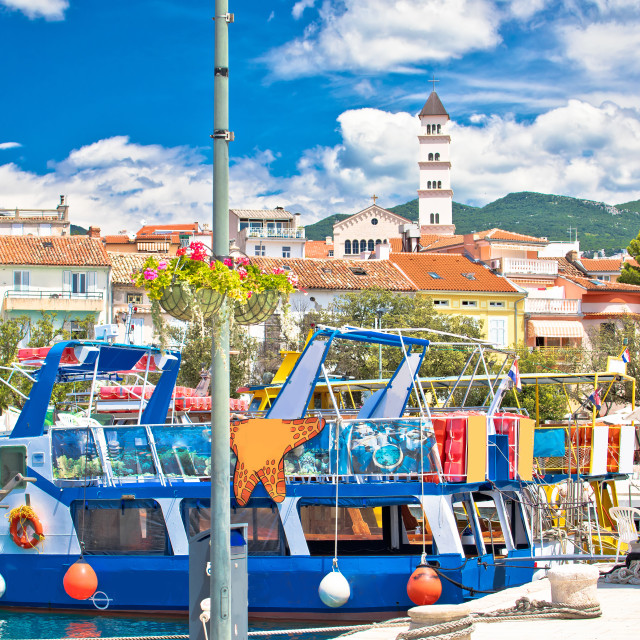 """""""Colorful town of Crikvenica harbor and tower view"""" stock image"""