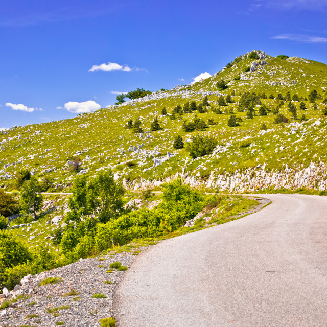 """Velebit mountain landscape and road view, Northern Velebit"" stock image"