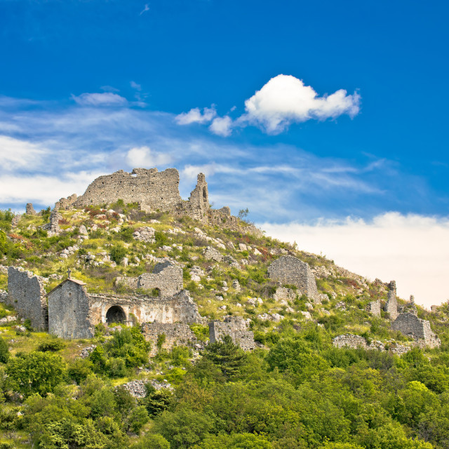 """""""Ledenice historic town on the hill ruins view, Vinodol valley"""" stock image"""