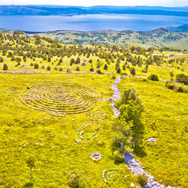 """Celestial Labyrinths stone mazes high in mountains above Novi Vinodolski..."" stock image"