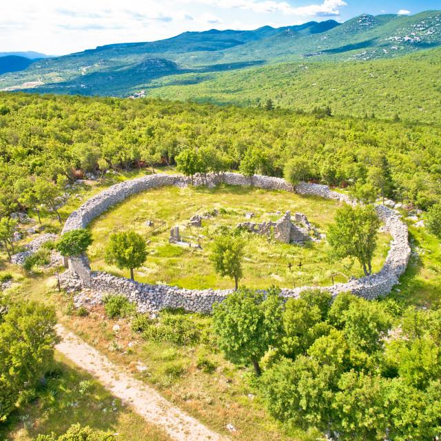 """Circular cemetery historic landmark in Ledenice village aerial view"" stock image"