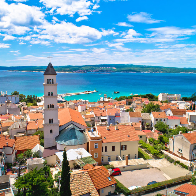 """""""Crikvenica. Town on Adriatic sea waterfront aerial view"""" stock image"""
