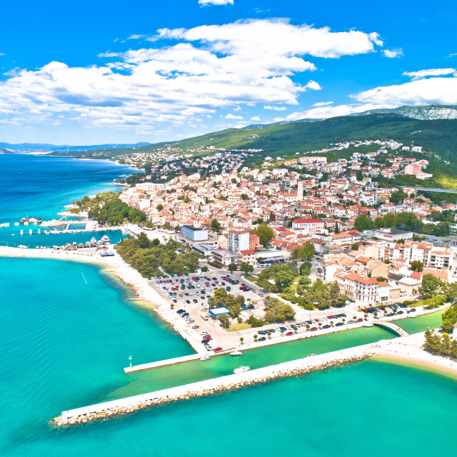 """""""Crikvenica. Town on Adriatic sea waterfront aerial view."""" stock image"""