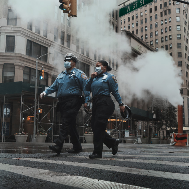 """""""Cops with masks"""" stock image"""