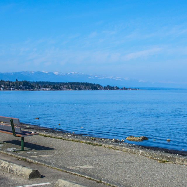 """The Boardwalk At Qualicum Beach"" stock image"