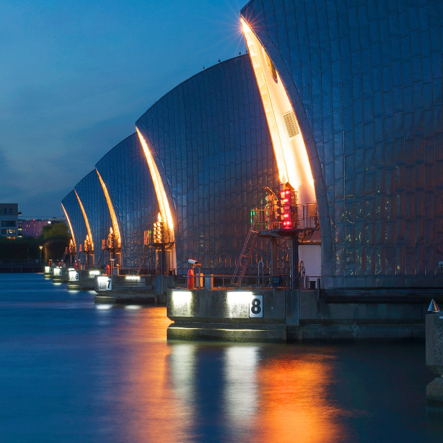 """""""The Thames Barrier at dusk in Woolwich, London, Great Britain"""" stock image"""
