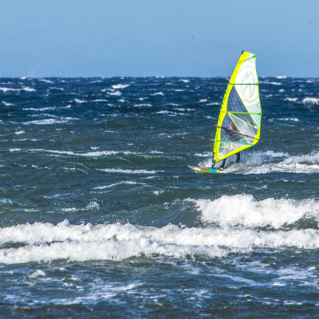 """Windsurfing In Parksville"" stock image"