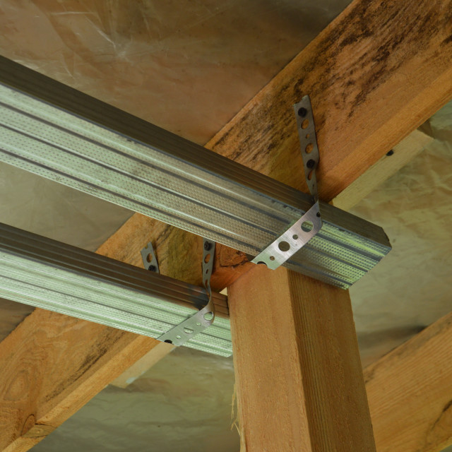 """""""The design of the metal profile for attaching drywall"""" stock image"""