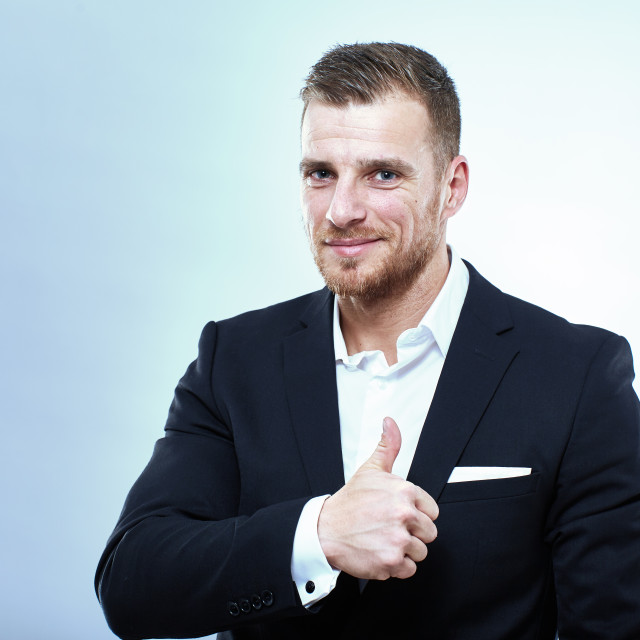 """""""Businessman with thumbs up"""" stock image"""