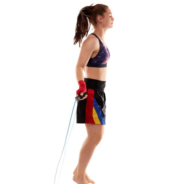 """Kickboxing girl jumping rope"" stock image"