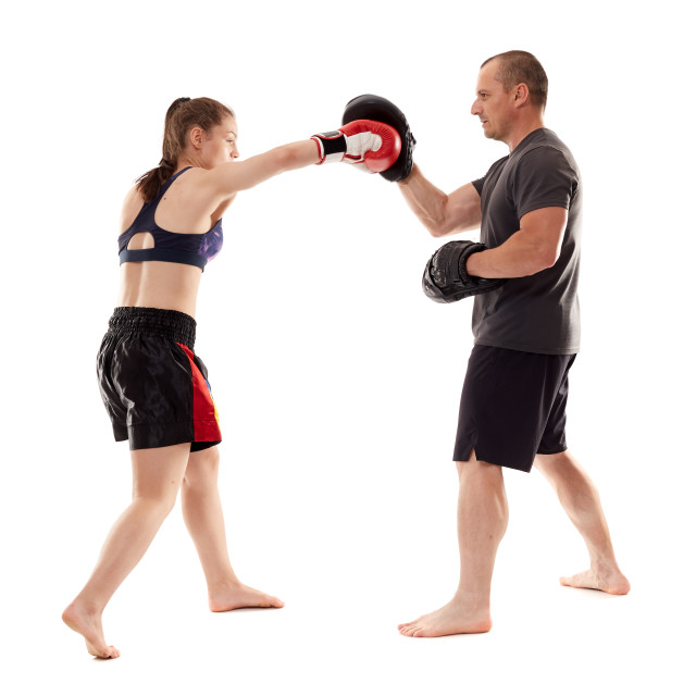 """""""Kickboxing girl and her trainer"""" stock image"""