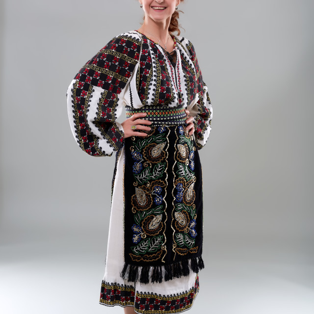 """""""Romanian woman in traditional costume"""" stock image"""