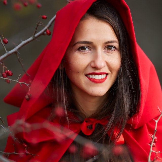 """""""Red Riding Hood cosplay in the forest"""" stock image"""