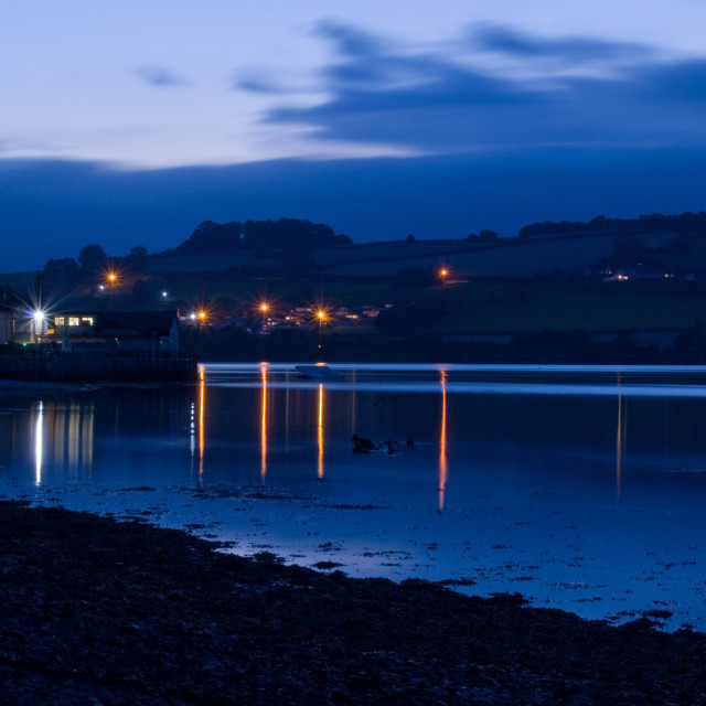 """River Teign at Dusk"" stock image"