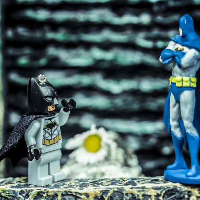 """""""Socially distanced meet up with Batman"""" stock image"""